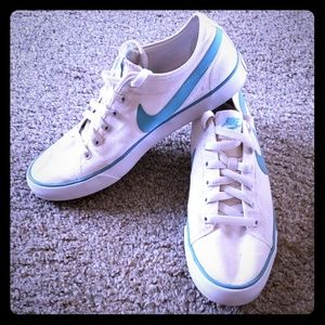 White and Turquoise Nike Sneakers
